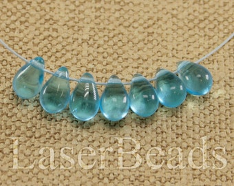 Teardrop beads 30pc 9mm Blue tear drops Czech glass teardrop beads Sky blue beads Tear drop beads Blue teardrops Small top drilled last