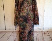 Vintage 70s Pauline Trigere Sheer Maxi Dress - Rhinestone Sparkle - Long Sleeve - Hippie Boho Festival