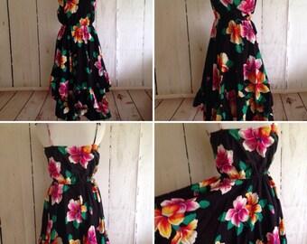 Vintage Fredericks of Hollywood Dress - 70s/80s Day dress - Hibiscus Dress - Full Skirt -Tie Straps - M/L