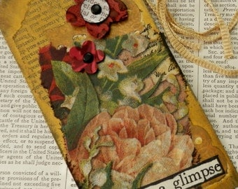 "ART/JOURNAL/INSPIRATION Tag - Collage with Book Text Snippet - ""Just for a Glimpse""  One-of-a-Kind"