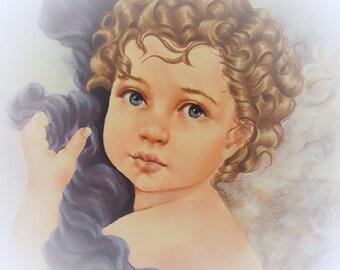 angel cherub art painting canvas print, angel wall decor, cherub wall decor, cherub painting, angel painting