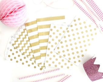 Gold Print Patterned Paper Bags