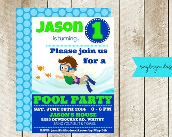 Baby FIRST Birthday Pool Party Invitation! Personalized just for you! Digital file!
