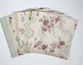 Vintage Wallpaper Sample Collage Pack (12 Sheets, 8 1/2 in. x 10 1/2 in.) - Vintage Wallpaper Scraps