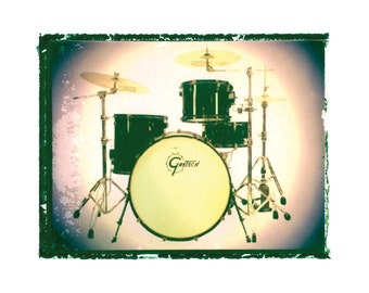 Gretsch Drum set drummer music art print / music gift / rock n roll art / music room decor / guitar gift / man cave art