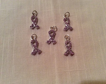 Breast Cancer Awareness Charms ~ Silver with Pink Crystals ~ Pack of FIVE