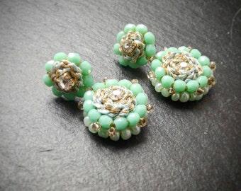 Dangle earrings, drop earrings,round,crystal, embroidery jewelry, boho earrings, exotic, casual earings, bohemian jewelry, modern earrings