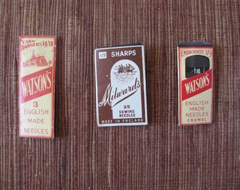 Vintage Sewing, Crewel and Yarn Darning Needles Packets Watson's and Milward's Made in England