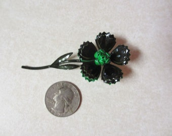 3D Brooch Layered and Cut-out Black and Green Flower Mid-Century