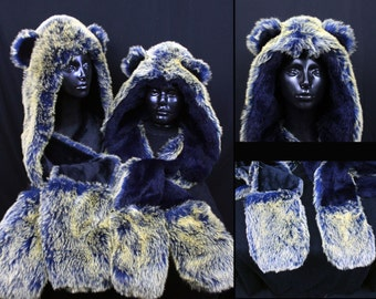 Blue and Gold Bear Playa Hood - Faux Fur Hats - Scoodie - Spirit Animal