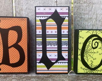 Halloween Decor Boo Chunky Wood Blocks, Halloween Boo Woodcraft Letter Blocks, Wood Halloween BOO Decoration