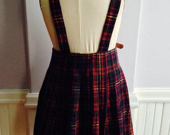 Girl's Wool Tartan Suspender Kilt / 1950's Child's Wool Plaid Kilt