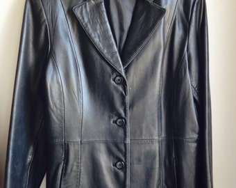 Womens  Black Leather Jacket / 80's Vintage Black Leather Jacket / Size Large Womens Leather Jacket