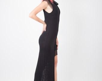 Maxi Black Dress, Avant Garde Dress, Prom Dress, Evening Gown, Cotton Dress, Mesh Dress