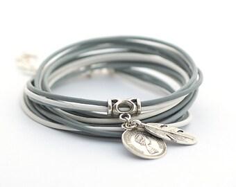 White Gray Boho Wrap Bracelet, Gray Silver White Wrap Bracelet, Wrap Around Bracelet, Minimalist Jewelry, gift for her