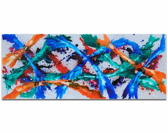 Mendo Vasilevski 'Color Dance' - Blue, Orange, Pink, Purple, Red, Teal, & White Painting, Modern Abstract Art, Contemporary Eclectic Decor