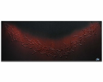 Mendo Vasilevski 'Red Hot' - Firebrick, Red, & Black Elegant Painting, Modern Abstract Art, Contemporary Urban Decor