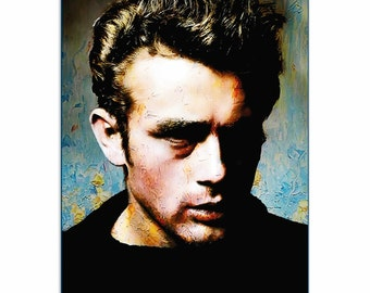 Pop Art 'James Dean Gentle Trust' by Artist Mark Lewis, Colorful James Dean Painting Limited Edition Giclee Print on Metal or Acrylic