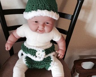 Lil Green Santa or Elf Diaper Cover Set