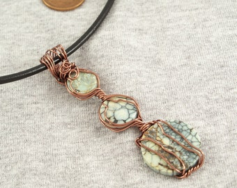Natural Nevada Variscite Pendant and black leather cord