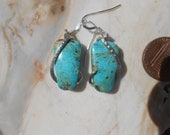 NICE Turquoise Silver Wrapped Earrings