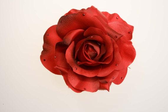 Red Rose Hair Clip// Swarovski Crystals//Bridal Hair Clips//Rhinestone Hair Clips//Wedding Hair Flowers