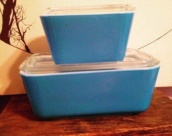 Pyrex Horizon Blue Fridgies, Refrigerator Dishes, Small and Medium Size 501 & 502,  MINTCondition, With Lids