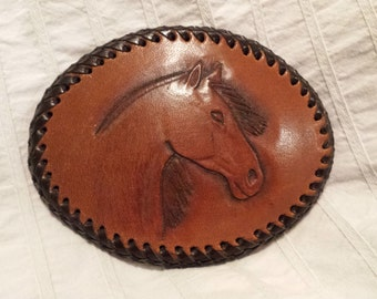 Hand Tooled Leather Buckle, In Horse Design