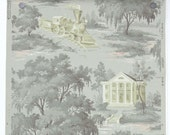 REMNANT of Vintage Wallpaper, Single 24 Inch Piece - Segmant of Scenic Wallpaper with Colonial House and Train with Gray Trees