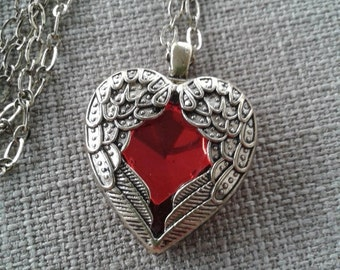 Victorian, Red Heart Rhinestone Wrapped in Antique Gold Angel Wings Pendant Necklace with Small Chain Link Jewelry