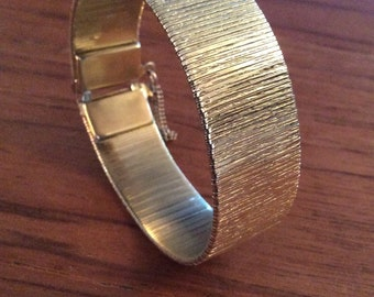 MODERNIST GOLD ARTICULATED Retro Bracelet Fifties Sixties Seventies