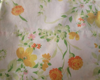 Pretty Percale Yellow and Orange Floral JCPenny Vintage Sheet Standard Pillow Case Sheets