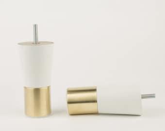 Mid-century Modern Brass Furniture Legs Replacement Leg White