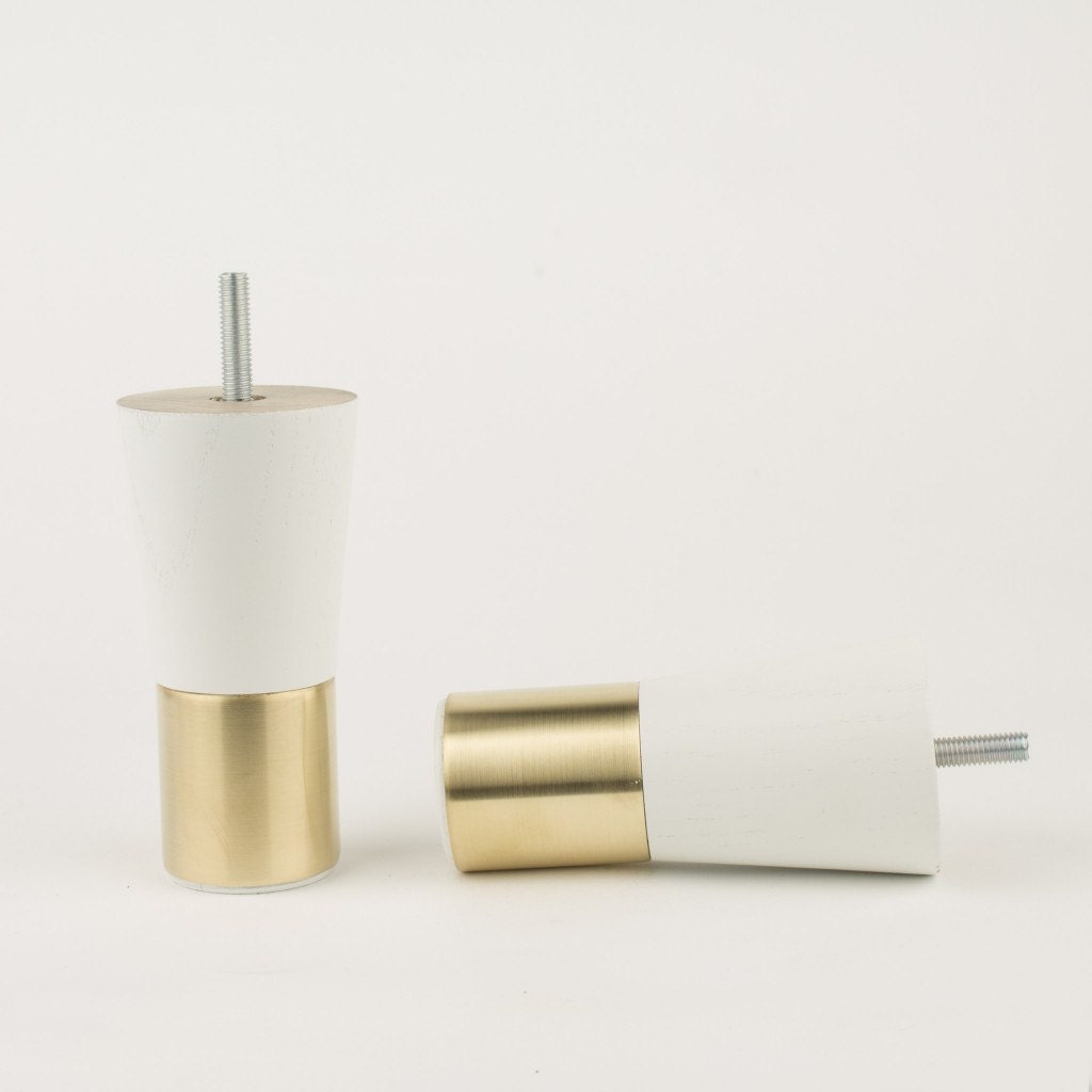 Mid century modern cabinet hardware - Mid Century Modern Brass Furniture Legs Replacement Leg White