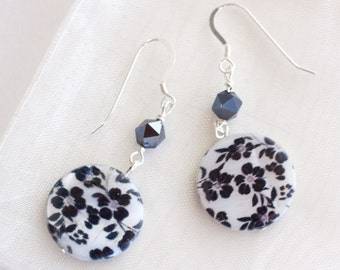 Flower Print, Swarovsky Crystal & Sterling Silver Earrings