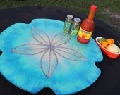 "Sand Dollar Lazy Susan, 18"" across, Turntable, Kitchen art, Coastal Home, Beach House Art, Coastal Kitchen, Family Table, Centerpiece"