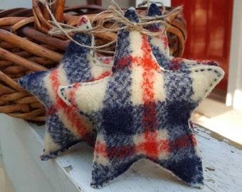 Recycled Wool Plaid Star