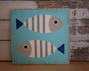 Rustic Fish Wood Sign