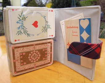 Vintage Rummy Card Set with two decks in a plastic case, Playing Cards Set for the German Game Rommé