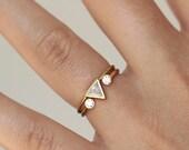 Trillion Diamond Wedding Set with a Dual Diamond Ring - 0.25 Carat Trillion Diamond - 18k Solid Gold