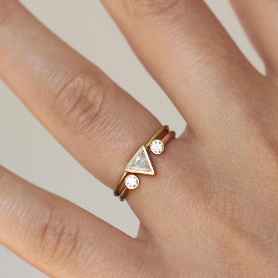 Trillion Diamond Ring Set Modern Wedding Ring Set Wedding
