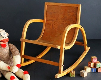 Vintage Child's Bentwood Rocking Chair with Pressed Western Cowboy and Horse Design
