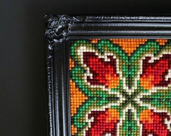 Vintage Heavy Yarn Needlework Pillow Cover Unframed Picture Green Orange Red  Abstract Flower Fiber Art
