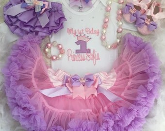7-pc set Tiara Birthday outfit- include Personalised top,skirt,headbabd,bracelet,necklace,bloomer and shoes
