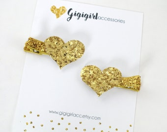 Gold Glitter Hair Clips, Glitter Heart Hair Clips,  Heart clippies, Heart Hair Bows,  Glitter Clippies, Gold Glitter Bow
