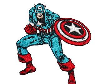 Classic Captain America Marvel Comics Avengers Superhero Iron-On Applique Patch