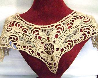 Victorian Ecru Lace Collar Vintage Dress Lace Insert Antique Gross Point De Venice Netted Lace Trim Repurpose