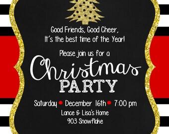 Christmas Party Invitation- digital- printable-trees- glitter- sparkle-black-white- gold