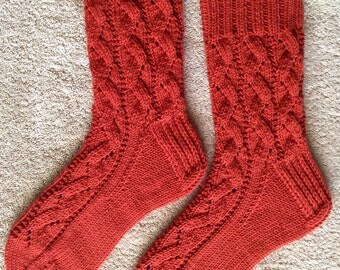 Hand Knit Womens Cashmere-Wool Blend Socks (S-202)