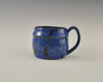 Stoneware coffee mug, blue ceramic coffee mug, pottery coffee cup